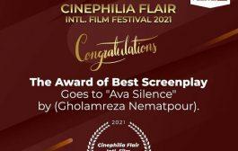 سکوت آوا برنده جایزه بهترین فیلمنامه از جشنواره سینه فلیا هندوستان شد.